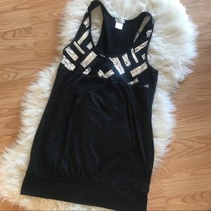 Black silver sequined tank top